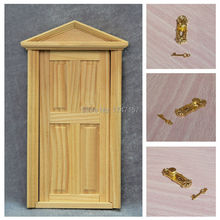 New 1:12 Dollhouse Furniture ~ Doll house Miniature Wooden Exterior Door Models with Door Lock and Key(China (Mainland))