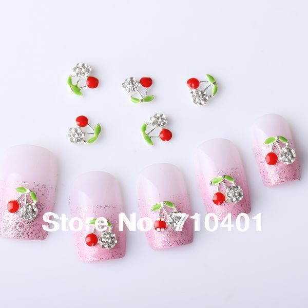 Hot Sale FREE SHIPPING Wholesale Xmas Newest Cherry 50pcs 3D Alloy Rhinestones Nail Art  Slice DIY Decoration Gift Manicure Tool
