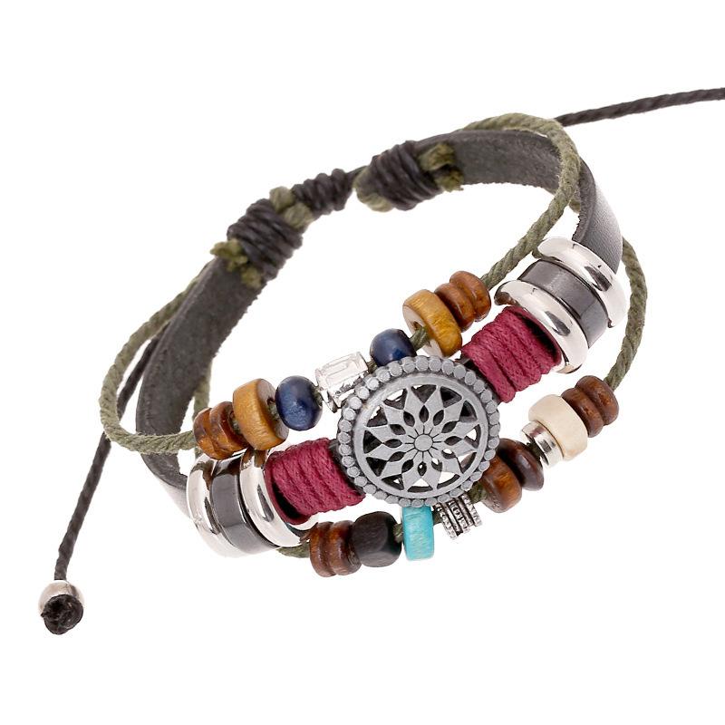 Гаджет  New 2014 Vintage Retro Leather Bracelet Personality Sunflower Wooden Bead Bracelet & Bangle For Women Men Unisex Jewelry Black  None Ювелирные изделия и часы