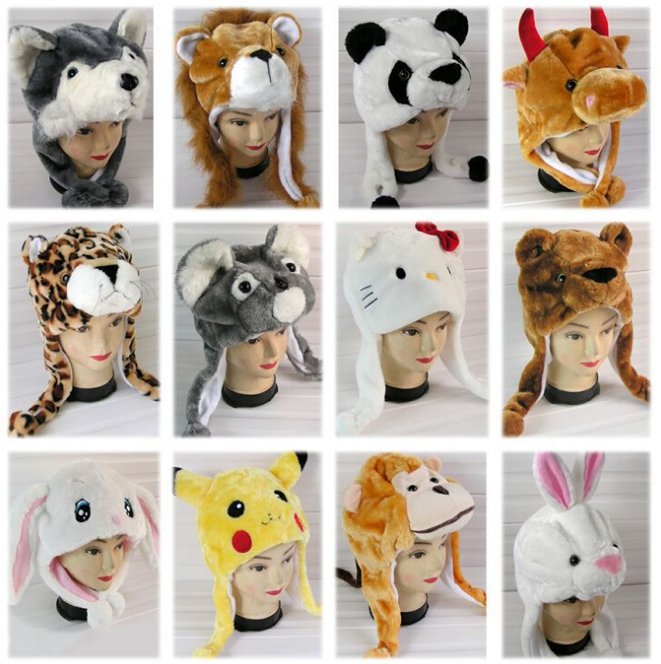 Adult child general paragraph cartoon plush animal hat thermal winter ear protector cap thickening Skullies & Beanies headwear(China (Mainland))