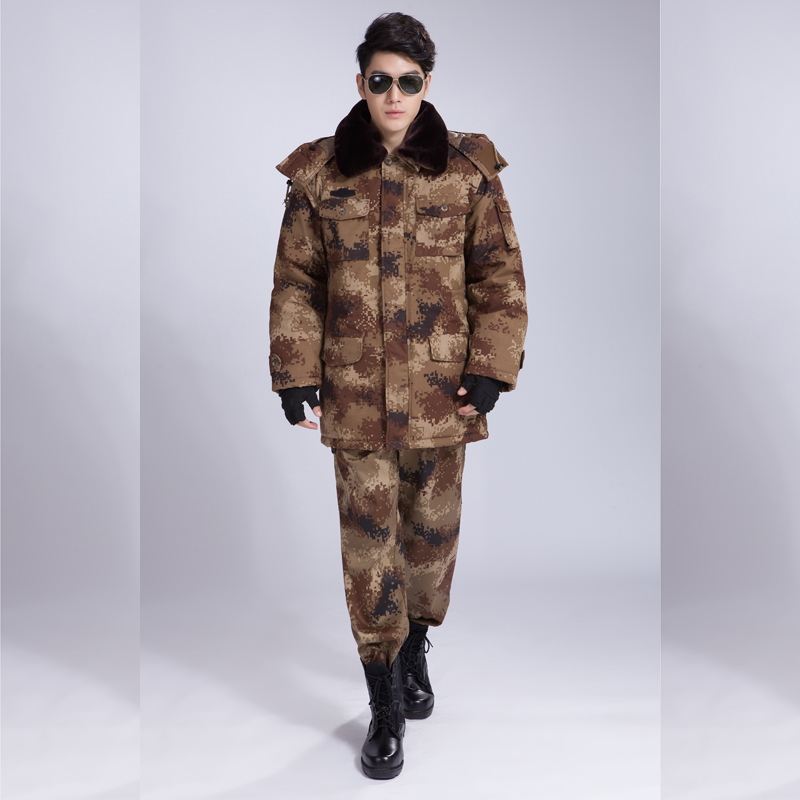 2016 super thick warm 3xl safety clothing fur collar long sleeves security camouflage green utility uniforms shm018(China (Mainland))