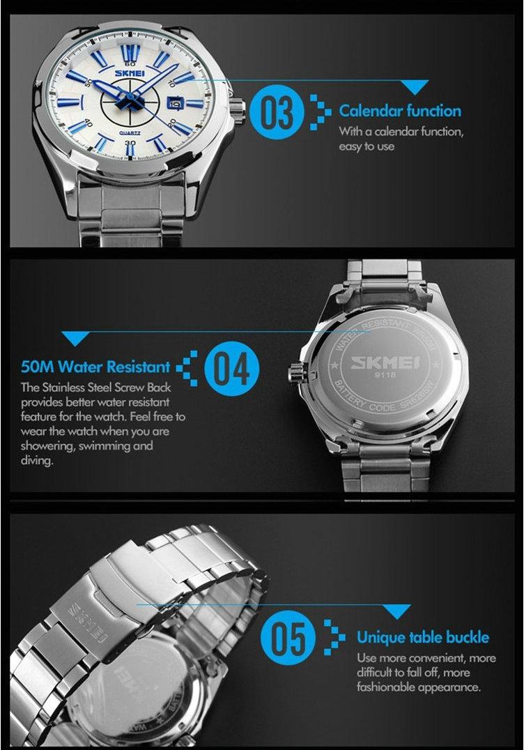 Skmei нержавеющей стали 3atm водонепроницаемый бизнес часы, японии movt кварцевые часы моды