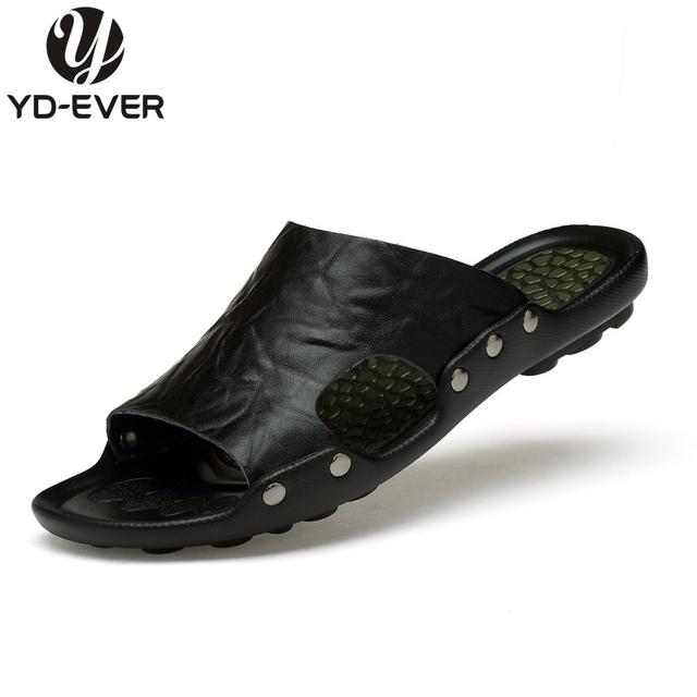 100% натуральная кожа мужчины сандалии - ручной летом мода марка пляжные тапочки ...