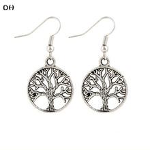 2016 DH Earring The Tree Of Life Drop Earrings Bohemia Vintage Punk Pierced Drop Earrings Silver color  Earrings For Woman E1668(China (Mainland))