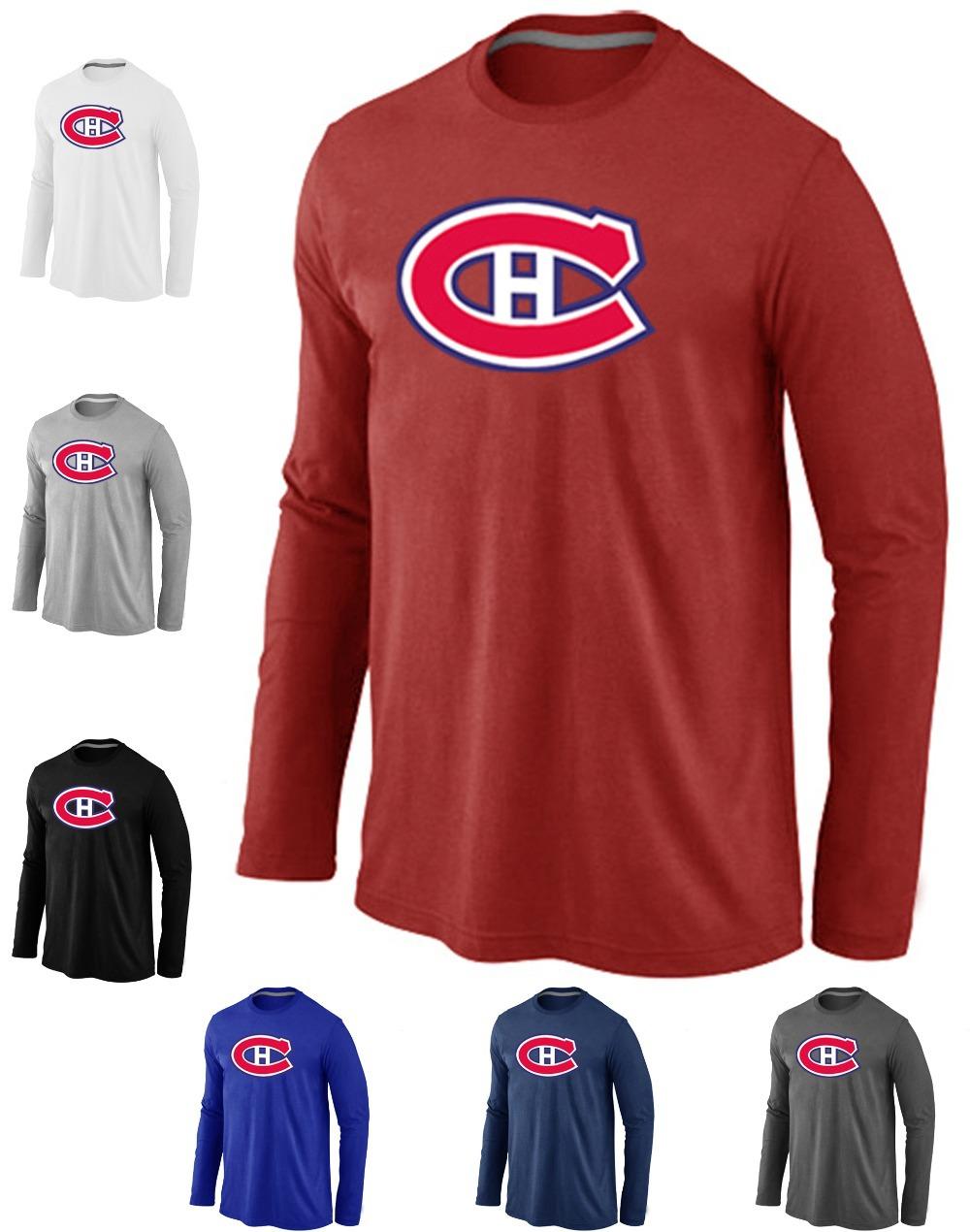 Cheap Montreal Canadiens Hockey Long Sleeve T Shirts Big&Tall Logo Fashion Canadiens Hockey Tees Shirt Cotton O-Neck T-shirt(China (Mainland))