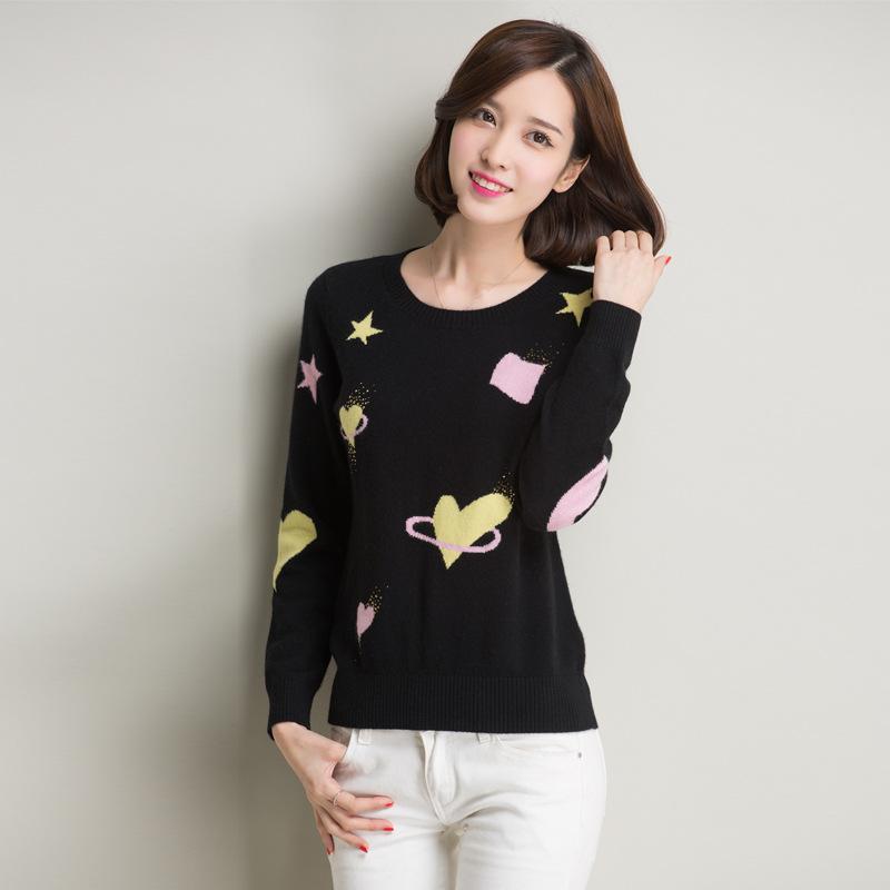 Women Fashion Pullover Knitwear Sweater Star Tops Winter new Korean long-sleeved shirt printing Slim sweater woman y1110-115C