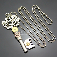 Ornate Silver Skeleton Key Watch Clock Hand Gear Cog Steampunk Chain Necklace Jewelry Free Shipping