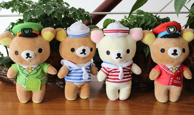 Plush pendant wholesale 1pair 20cm cartoon navy Rilakkuma bear wedding little cupula doll children prize girl gift stuffed toy(China (Mainland))