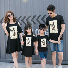 COUPLE Brand 2016 Summer Family Matching Outfits Mother And Daughter Dresses Off Shoulder Dad Son short sleeve t shirt Black(China (Mainland))