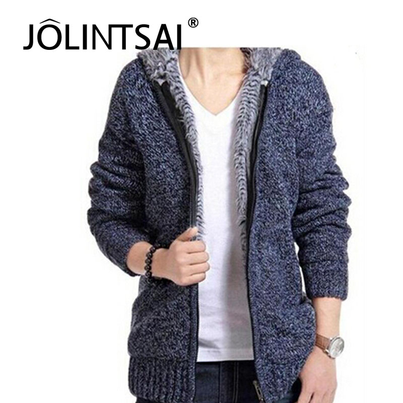 2014 man winter plus size thick velvet cotton hooded fur jacket men padded knitted casual sweater Cardigan coat - Make Your Style store