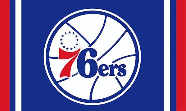 Philadelphia 76ers custom flag 3ftx5ft polyester white sleeve with 2 Metal Grommets 3ft x 5ft(China (Mainland))