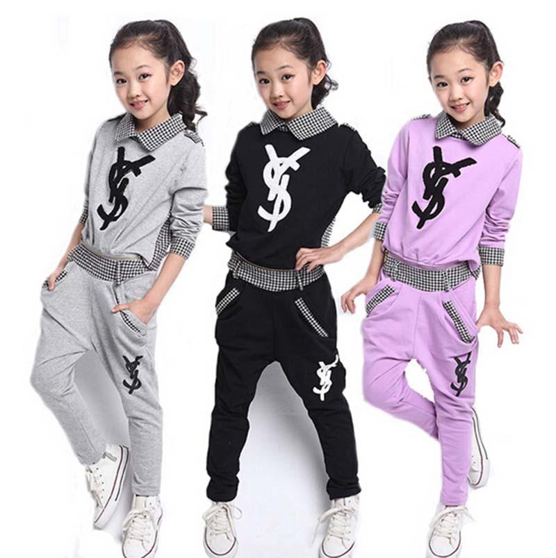 Girls children clothing set spring autumn sport font b plaid b font hoodie pants two piece