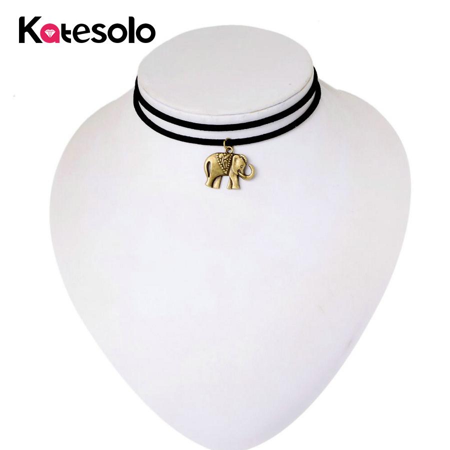 Collar de elefante de oro vintage