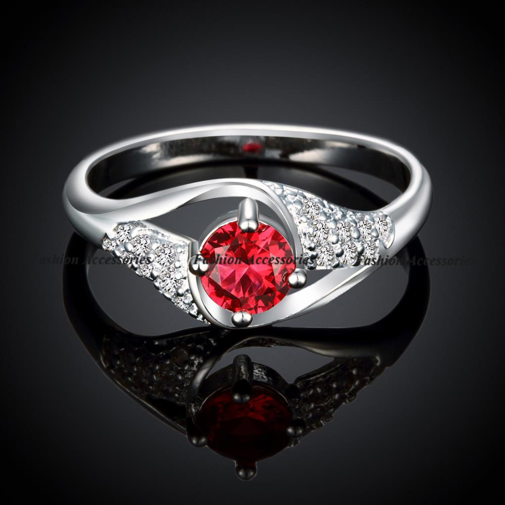 New Fashion Brand Rhinestone Jewelry For Women AAA Ruby CZ Diamond Engagement Wedding Finger Rings Free