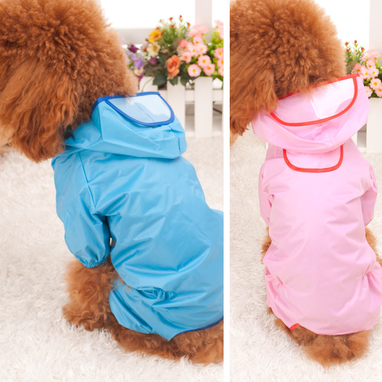 Plus Size Cute Blue Pink Waterproof Pet Raincoats Nylon Apparel Jumpsuit Hoodie Coat Pets Dog Cat Cloth Jacket Dog Products Y349(China (Mainland))
