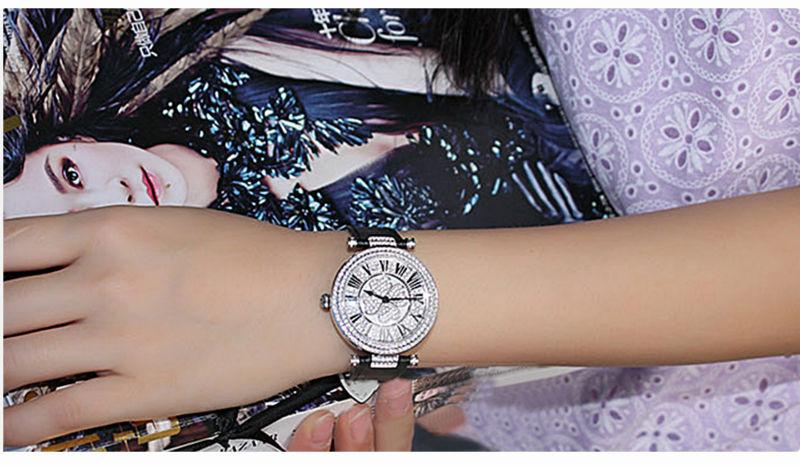 PB Марка Смотреть Женщины Роскошные Австрия кристалл мода Дамы Наручные Часы Неподдельной Кожи Водонепроницаемые Wamen Часы HL606