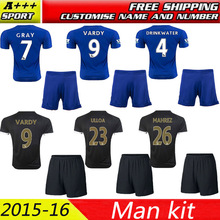 Excellent quality Leicester City jersey blue black soccer jersey 2016 VARDY KRAMARIC OKAZAKI ULLOA 15/16 football Shirts + Short(China (Mainland))