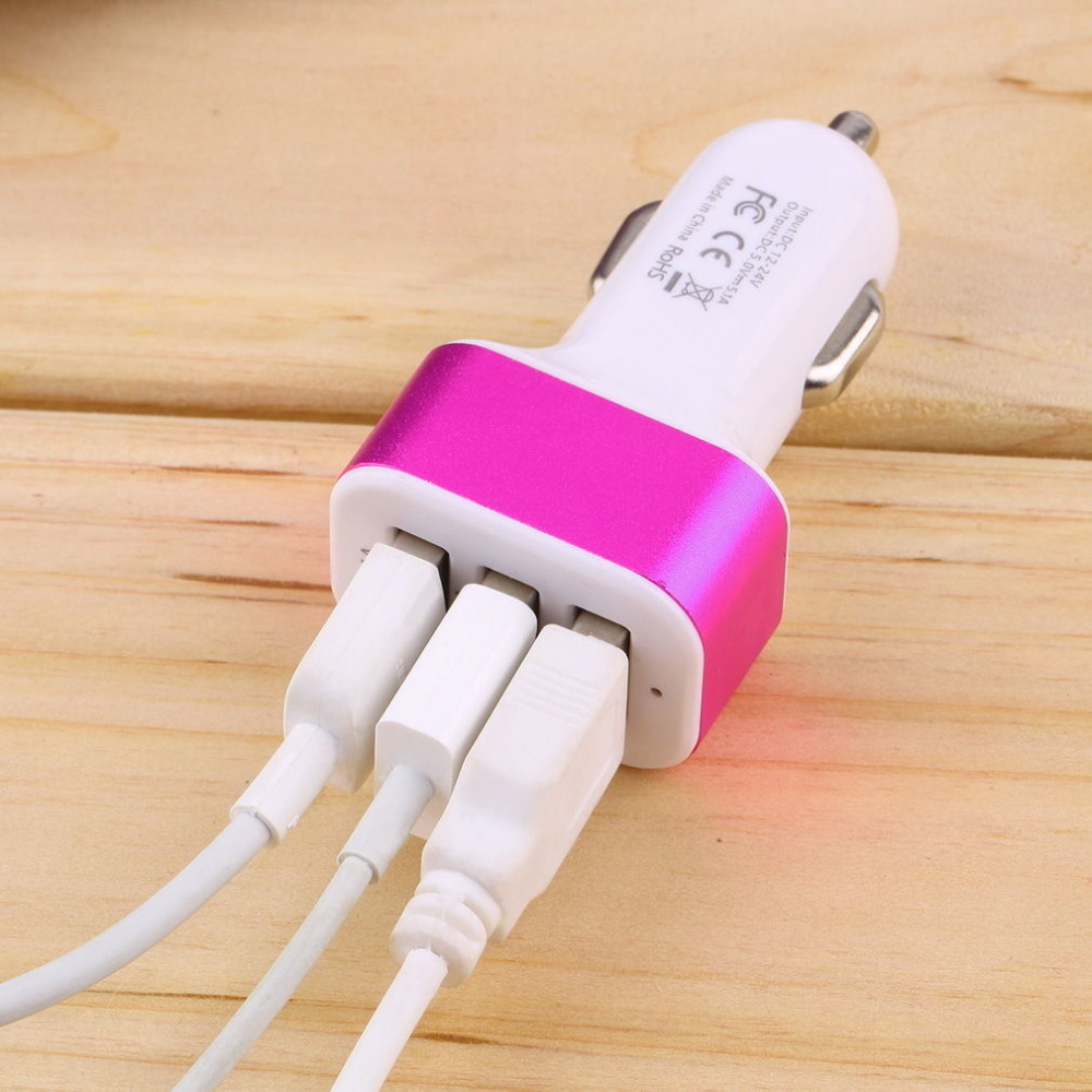 1 PC Triple USB Universal Car Charger Adapter 3 Port 1A 2 1A 1A For iPhone