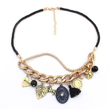 2015 Retro 18K Gold Plating Metallic Buckle Leaf Horse Tassel Pendant Necklace Women Jewlery Free Shipping Wholesale
