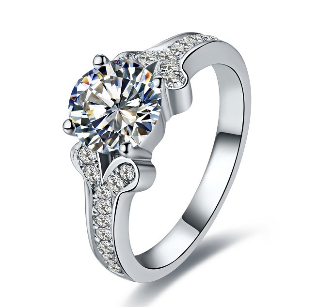 Great Design 2CT C&C Brand Moissanite Female Marriage Ring Top Quality Solid White Gold 14K Fine Jewelry Stone Test Positive(China (Mainland))