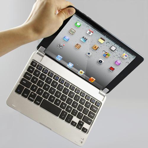 "Free Shipping 1pcs 7.9"" Slim Aluminum Wireless Bluetooth Keyboard Case Cover for Apple iPad Mini Free 1527(China (Mainland))"