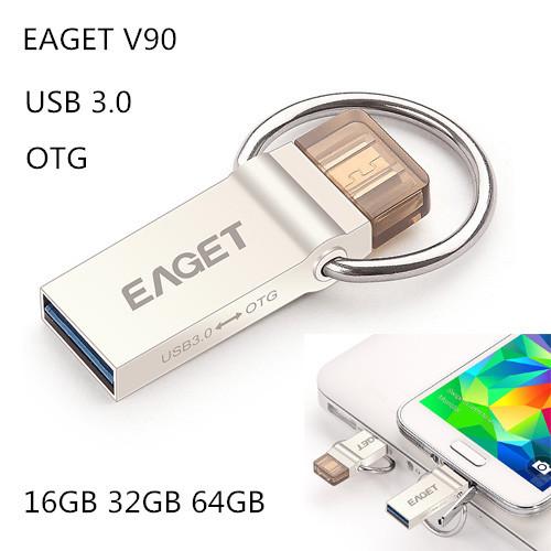 EAGET V90 16GB 32GB 64GB USB Flash Drive Encryption USB 3.0 OTG Smartphone Pen Drive Metal Material USB Stick for Tablet PC(China (Mainland))