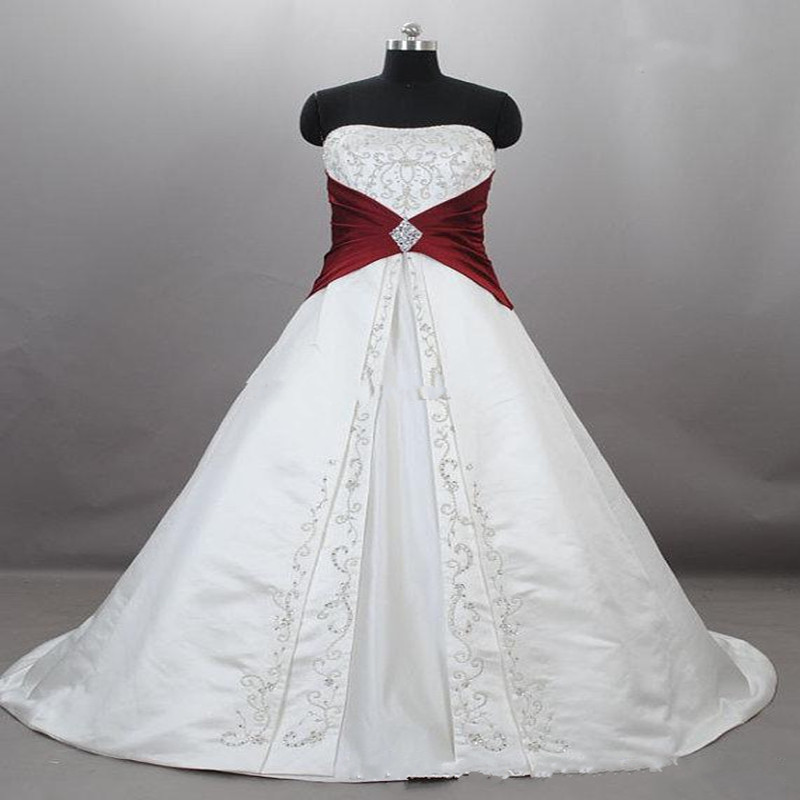 Wedding Dress Lace Up Kit : New strapless satin embroidery red and white wedding