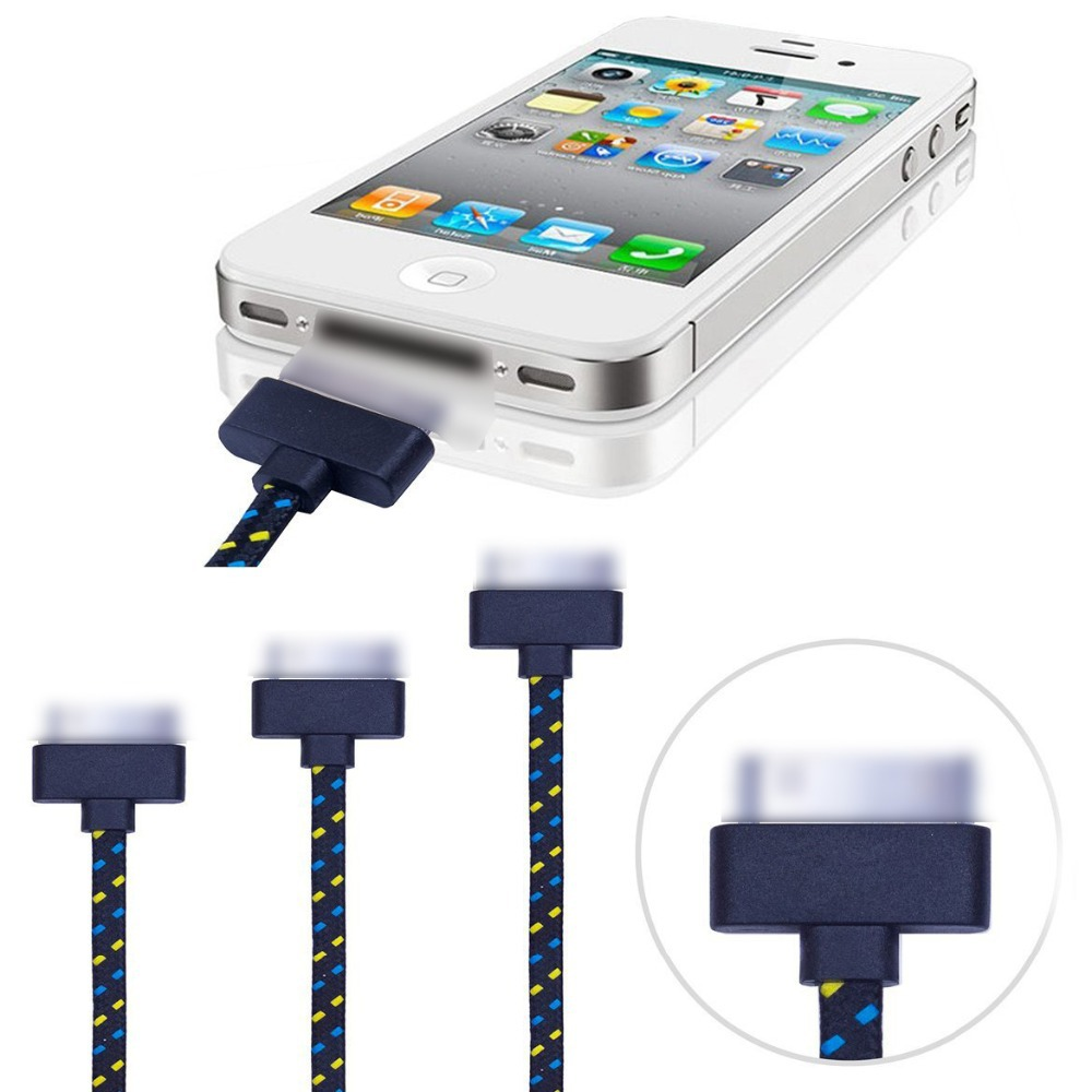 3ft 1m Fabric Braided USB Data Charging Cable Cord Charger Accessories for iPhone 4 4s iPod Touch 4 Nano 6 iPad 1 2 3 Wholesale