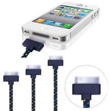 3ft 1m Fabric Braided USB Data Charging Cable Cord Charger Accessories for iPhone 4 4s iPod Touch 4 Nano 6 Wholesale(China (Mainland))