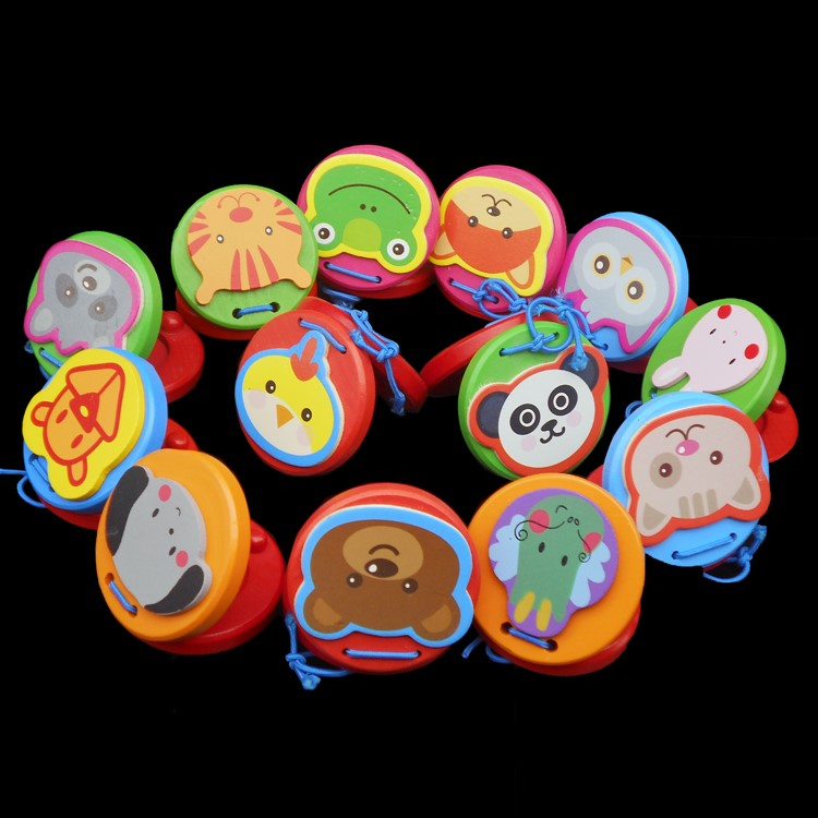 Free shipping Kids Wooden Toy Musical Instruments Castanets, Children color Castanets castanet/talking toys, Educational toys(China (Mainland))