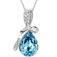 10 цвета австрийских кристаллов ожерелье подвески посеребренная бижутерии и Jewerly 2016 ожерелье женщины мода ювелирных изделий оптовая продажа(China (Mainland))
