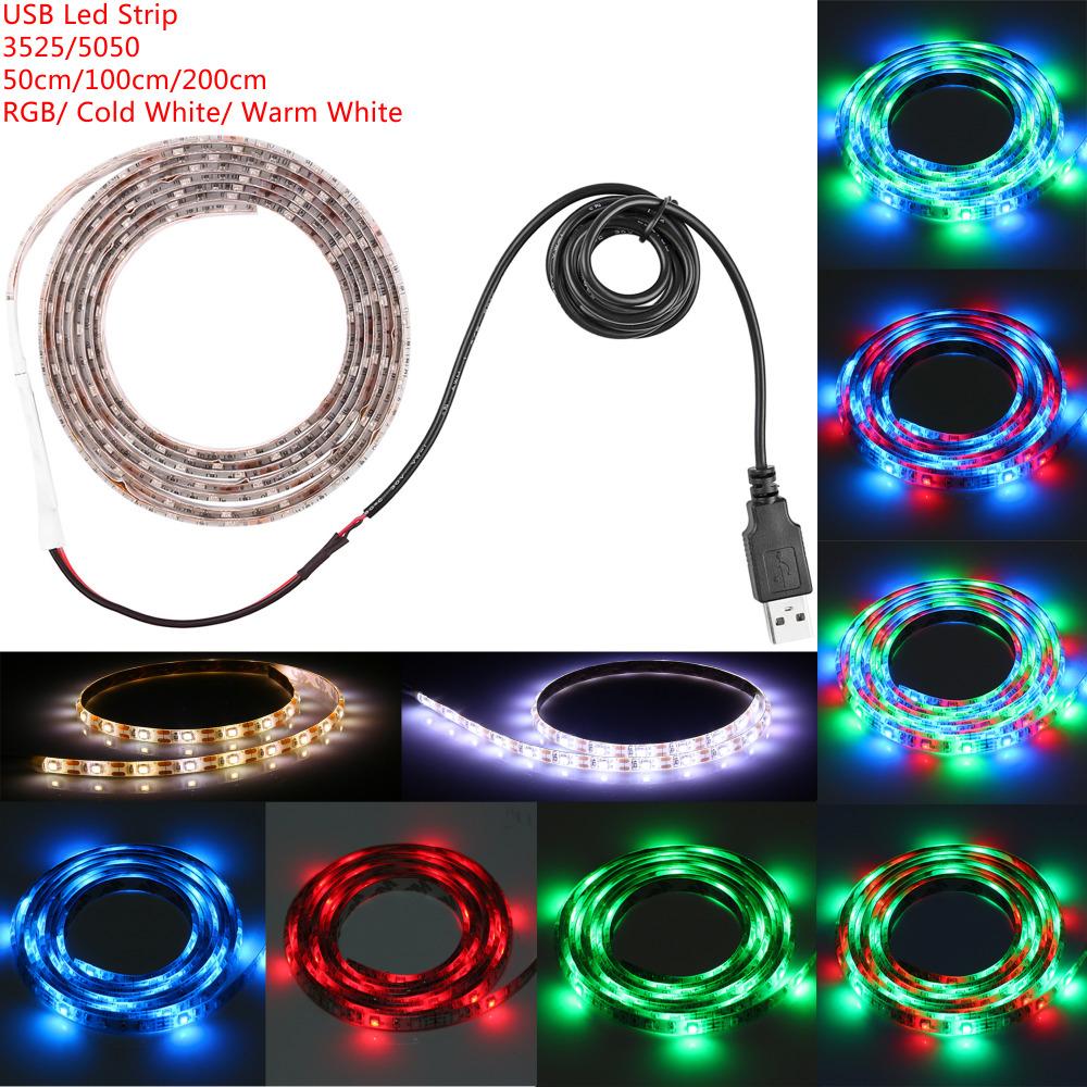 50cm 100cm 200cm USB LED Strip Light Waterproof Christmas Led SMD3528 5050 Strip Light RGB TV Background Lighting Strip Tira Led(China (Mainland))