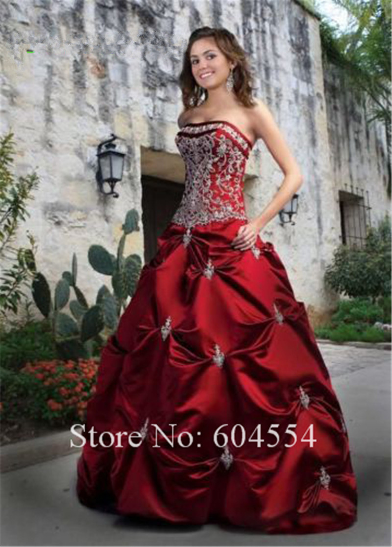 Crimson Red Ball Gowns - Dress images
