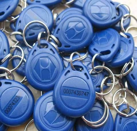 100pcs/lot High Quality Keychain Keyfobs EM RFID Cards Control Access Token Tag Key Ring Proximity Card 125Khz(China (Mainland))