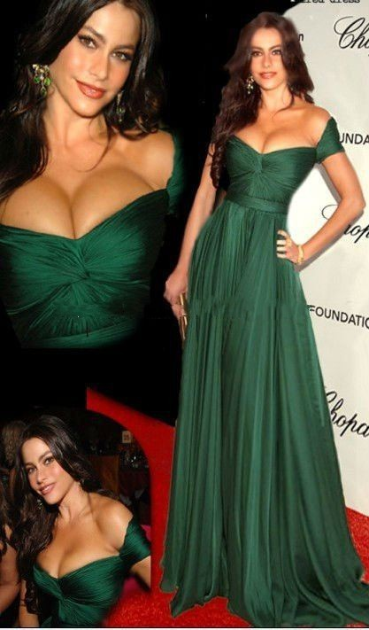 Summer Style Cannes Film Festival Oscar Award Peacock Green Evening Dresses 2014 Homecoming Chiffon Formal Celebrity Dresses(China (Mainland))