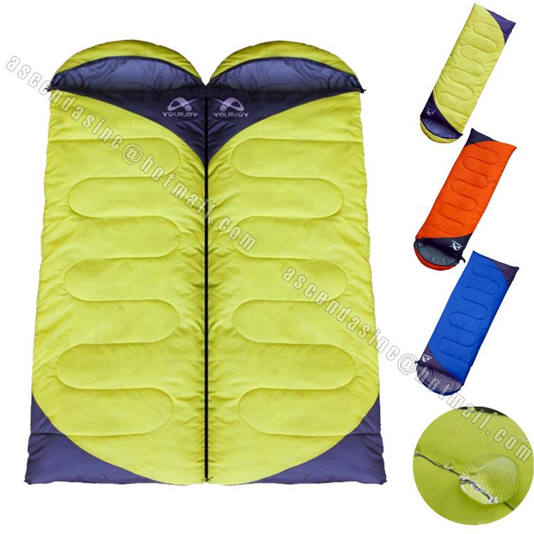 5 Degree Spring Autumn Outdoor Cotton Sleeping Bag ultralight envelope Cap Camping Sleeping Bag Splicing Double Sleeping Bag