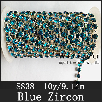 Sewing Accessories 10 Yards 38ss Blue Zircon Silver Base Handmake Strass Rhinestone Chain(China (Mainland))