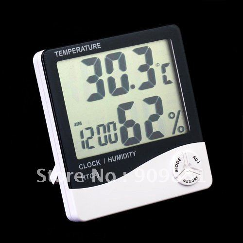 2016 Digital LCD Temperature Humidity Meter HTC-1 High Quality Thermometer Hygrometer Temp & Humidity Clock 10pcs Free Shipping(China (Mainland))