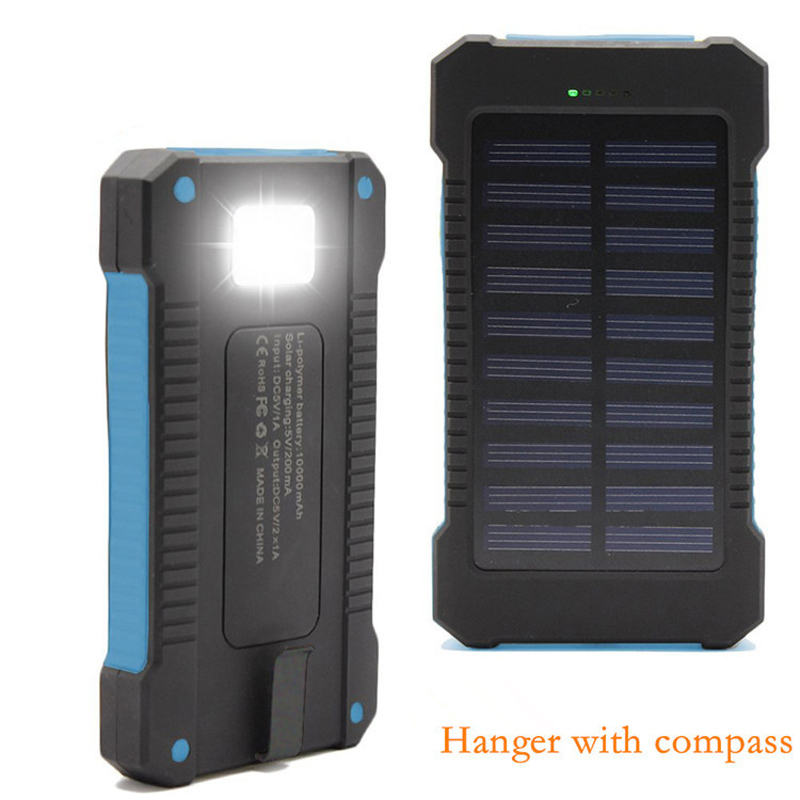 New style 10000mah Waterproof solar power bank double usb solar battery charger powerbank for all phone(China (Mainland))