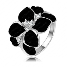 Exaggerated Design Platinum Plating Austrian Cystal SWA Element Black Flower Ring For Women Ri-HQ1006-B