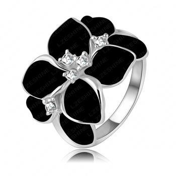 Преувеличены дизайн платины покрытие австрийский Cystal элемент SWA черный цветок ...