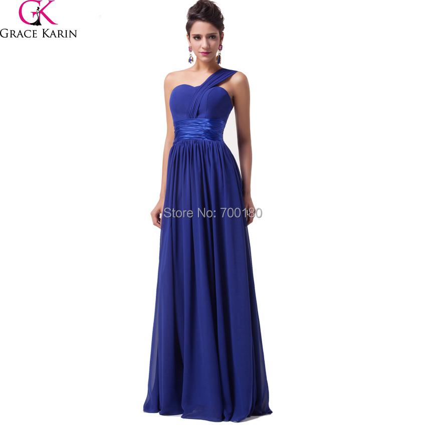 Fashion Royal Blue Back One Shoulder Chiffon Long Evening Dress Party Long Prom Dress Vestido De Noite Longo Evening Gown CL6022(China (Mainland))