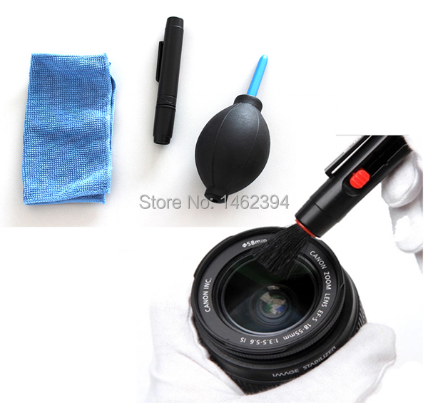 3 in 1 Lens brushes Cleaning brushed Kit Camera Lens Pen Cleaning Pen,Cloth Lens blower for canon nikon sony pentax sigma(China (Mainland))