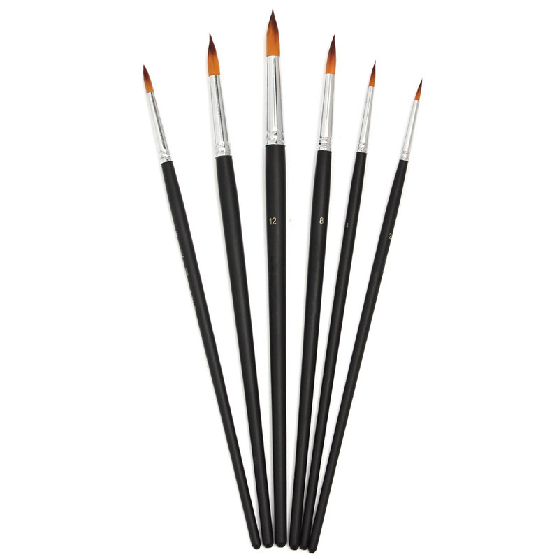 6pcs/set Durable Paint Brushes Set For Artists Acrylic Watercolor Round Pointed Tip Nylon Hair For Learner Oil Painting Drawing<br><br>Aliexpress