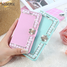 Buy KISSCASE Luxury Pearl Silk Leather Case iPhone 6 6s 7 Plus 5S SE Card Slot Girly Wallet Bag Flip Glitter Diamond Cover Capa for $3.69 in AliExpress store