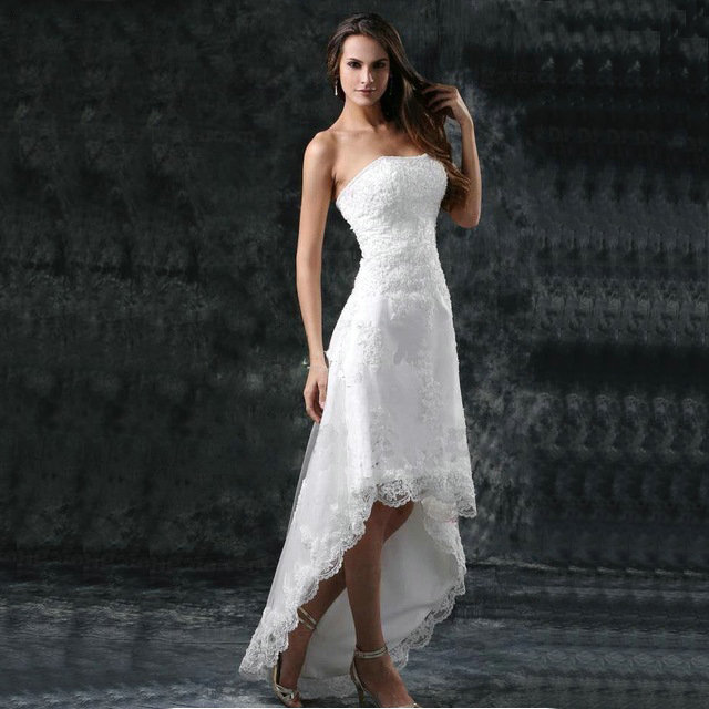 Beach Wedding Dresses Toronto : Fashion strapless high low lace beach wedding dresses