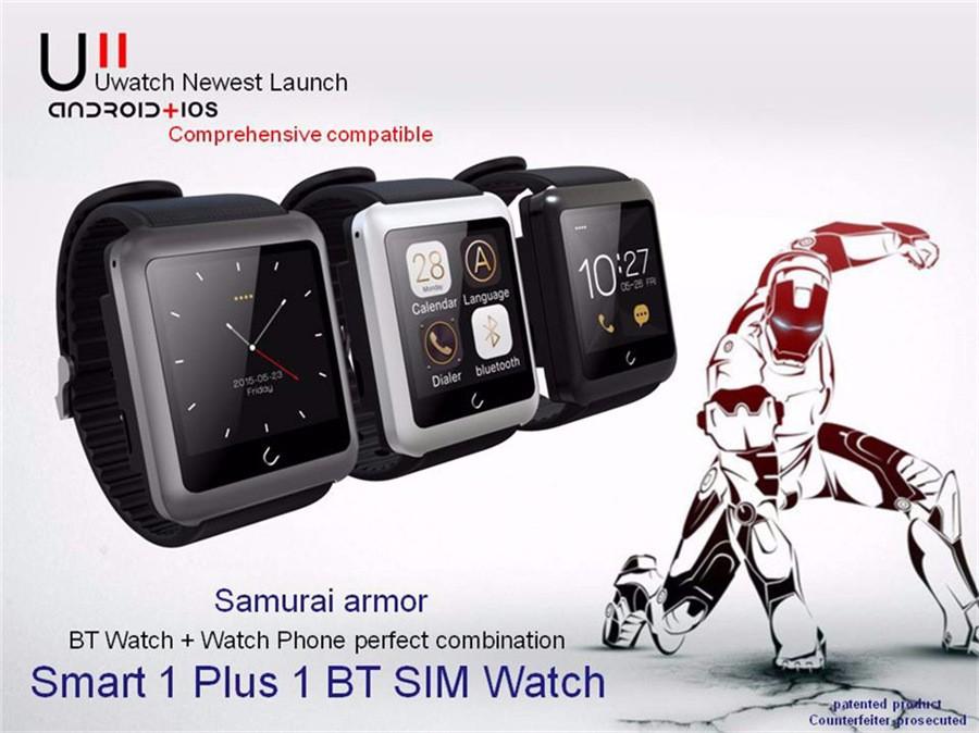ถูก ต้นฉบับu watch u11 smart watchสนับสนุนซิมการ์ดpedometerนอนติดตามบลูทูธs mart w atchสำหรับiosหุ่นยนต์ที่ดีกว่าdz09