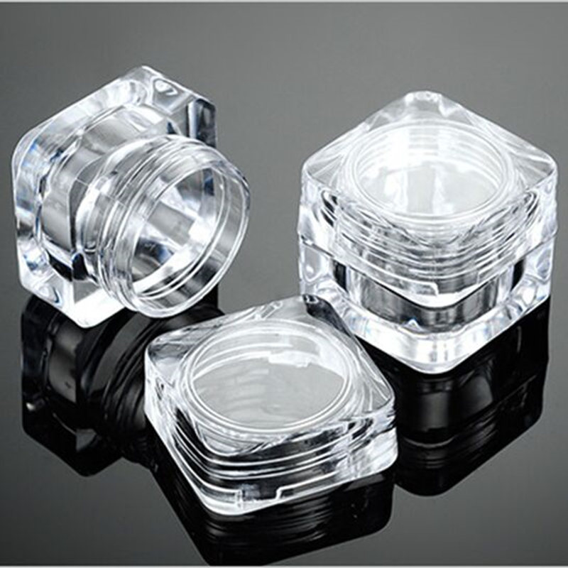 50pcs/lot 5 Grams Cream Sample Packing Box AS High-grade Transparent Crystal Eye Cream Jar Square Plastic Cosmetic Container(China (Mainland))