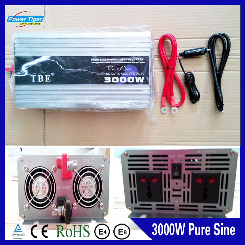 Peak Power 6000W Solar Inverter 3000W Pure Sine Wave Car Power Inverter DC 12V to AC 220V Car Auto Power Converter(China (Mainland))