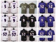 NO-2 Men 2016 100% stitched logo Baltimore Ravens #9 Justin Tucker #5 Joe Flacco #57 C.J. Mosley #89 Smith_Sr Purple Black(China (Mainland))